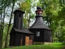 Ojedinělý osmiboký dřevěný kostel P. Marie, kolem roku 1800